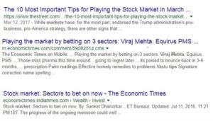 google results for how to play the market